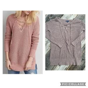 American Eagle Lace Up front Waffle Knit Sweater